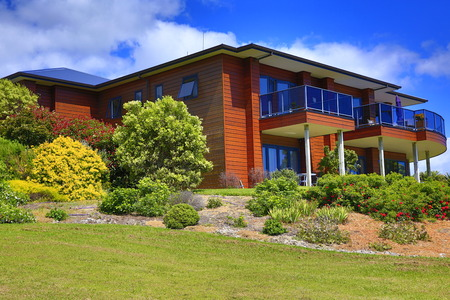 Exterior of Aurora Lodge with perfect landscape design. Waipu, New Zealand Editorial
