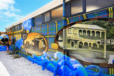 Murals on the Waipu toilets, Northland, New Zealand . Editorial