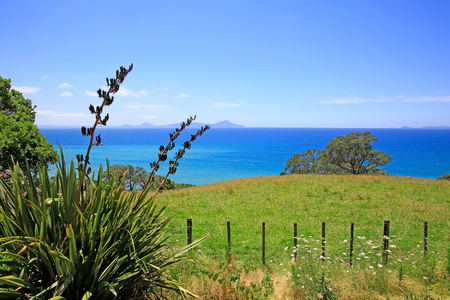 Scenic countryside and ocean view, New Zealand. Stock Photo
