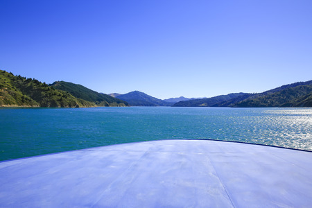 Marlborough Sounds seen from ferry from Wellington to Picton, New Zealand Stock Photo