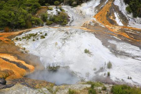 secluded: Cascade terrace Hochsteller Cauldron, Thermal area Orakei Korako in New Zealand Stock Photo