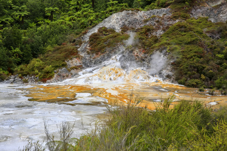 Orakei Korako geothermal valley near Taupo in New Zealand. Stock Photo