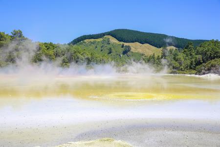 geothermal: Champagne Pool in Wai-O-Tapu Geothermal Wonderland, Rotorua, New Zealand.