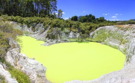 Devils Bath pool in Waiotapu Thermal Reserve, Rotorua, New Zealand. Stock Photo