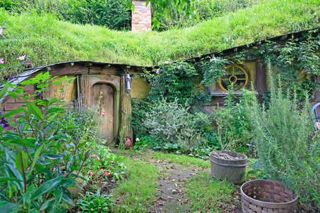 MATAMATA, NEW ZEALAND - JANUARY 15, 2015: Hobbiton - fictional village created for the movie Lord of the Rings.