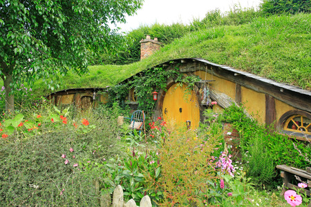 MATAMATA, NEW ZEALAND - JANUARY 15, 2015: Hobbiton - fictional village created for the movie Lord of the Rings.