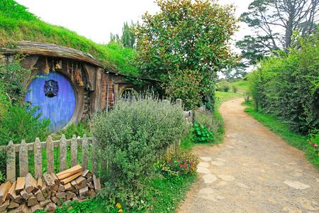 saga: MATAMATA, NEW ZEALAND - JANUARY 15, 2015: Hobbiton - fictional village created for the movie Lord of the Rings.