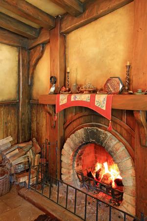 holiday blockbuster: MATAMATA, NEW ZEALAND - JANUARY 15, 2015: Green Dragon tavern interior in Hobbiton village Stock Photo