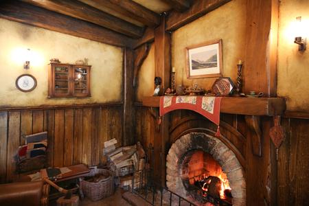 blockbuster: MATAMATA, NEW ZEALAND - JANUARY 15, 2015: Green Dragon tavern interior in Hobbiton village Editorial