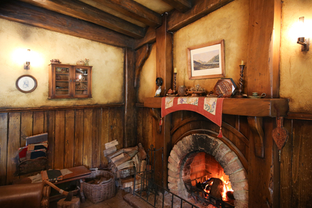 MATAMATA, NEW ZEALAND - JANUARY 15, 2015: Green Dragon tavern interior in Hobbiton village Editorial