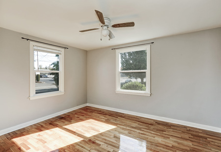 remodeled: Sunny unfurnished room with hardwood floor in old empty house. Northwest, USA