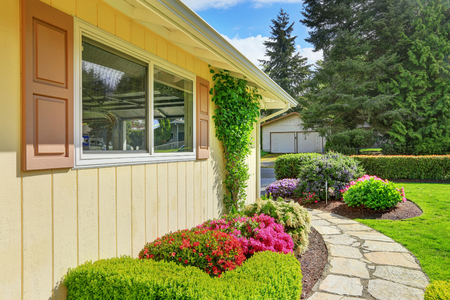 American yellow rambler style house exterior on blue sky background. Well kept flowerbed, green shrubs and stone walkway in the front yard. Northwest, USA