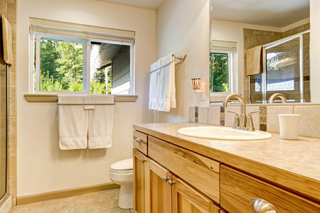 Bathroom vanity made of natural wood and reflection of glass shower in the mirror. Northwest, USA