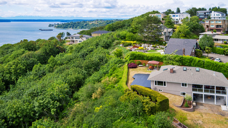 Panoramic view of luxury house in residential area overlooking Tacoma port. Northwest, USA Stock Photo