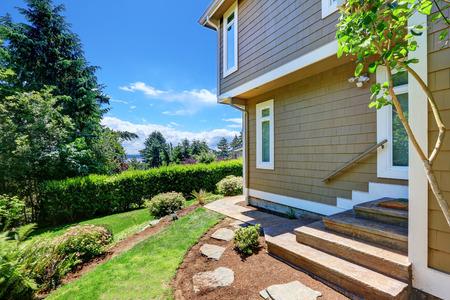 Luxury single family house exterior, side view. Northwest, USA