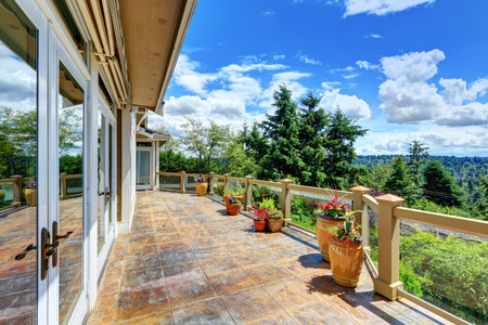Gorgeous view from luxury house terrace with stone floor . Northwest, USA Stock Photo