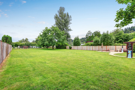 Large spacious backyard area, filled with green grass. Northwest, USA