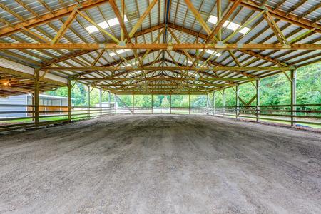 northwest: Empty paddock with shelter in the horse farm. Northwest, USA