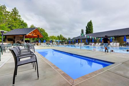 Public swimming pool in Tacoma Lawn Tennis Club. Northwest, USA