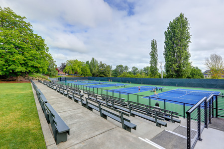 High angle view of tennis courts .  Tacoma Lawn tennis Club. Northwest, USA