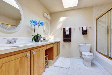 screened: Sunny bathroom with double sink vanity and blue orchid pot on it , glass screened shower and ceiling with skylight. Northwest, USA