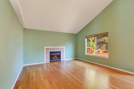 gas fireplace: Empty living room interior in a new construction house.  Great room comes with a gas fireplace , green walls and polished hardwood floor. Northwest, USA