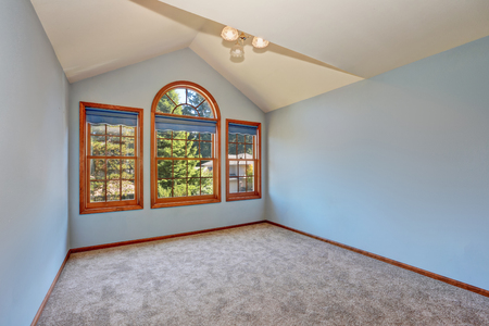 the vaulted: Empty blue room in old American house. There is vaulted ceiling, carpet floor and arched window in the room . Northwest, USA