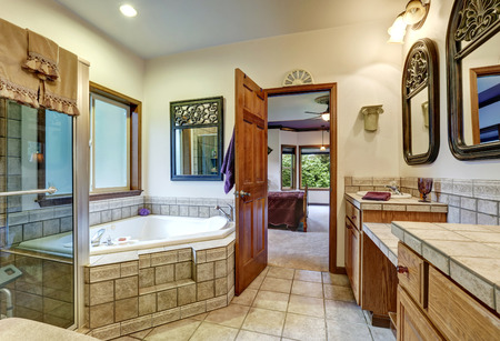 Nice Jack and Jill bath with two washbasins and Whirlpool Tub. Northwest, USA