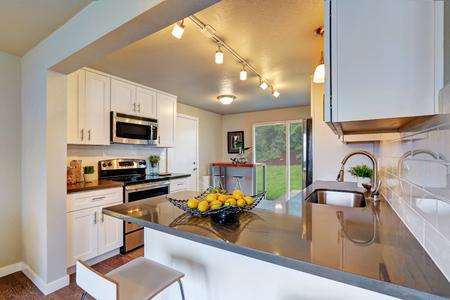 Vers verbouwde keukenruimte met witte kasten en grijze aanrechtbladen. Northwest, VS. Stockfoto