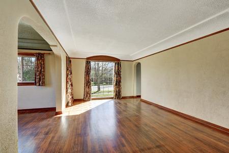 remodeled: Empty room interior of tudor style home with hardwood floor. Northwest, USA Stock Photo