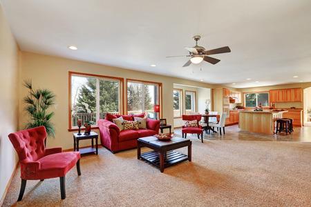 Cozy living room interior with red velvet  furniture. Northwest, USA