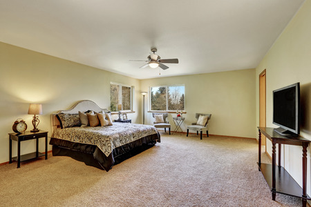 Master bedroom interior with king size bed  and television. Northwest, USA Stock Photo
