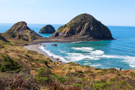 reserve: Scenic View of Coastline at Redwood National Park. California Stock Photo