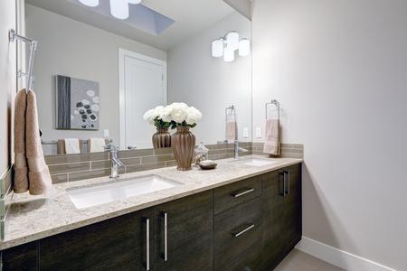 ブランドの新しい家でグレーときれいな浴室の設計は、暗い木製のキャビネット、花崗岩のカウンター トップ、ガラス トープ backsplash の二重流しの 写真素材