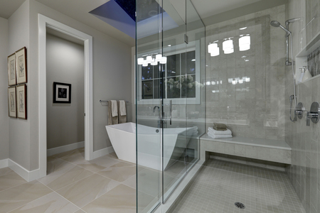 Amazing gray master bathroom with large glass walk-in shower, freestanding tub and skylights on the ceiling. Northwest, USA Stok Fotoğraf - 70106142