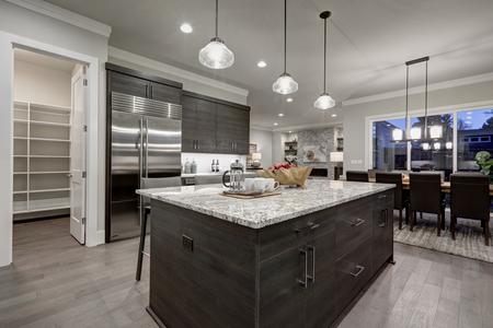 グレーのモダンなオープン プランのキッチンは、花崗岩のカウンター トップとペアになって暗い灰色キャビネットを備えています。ドアが開いてい