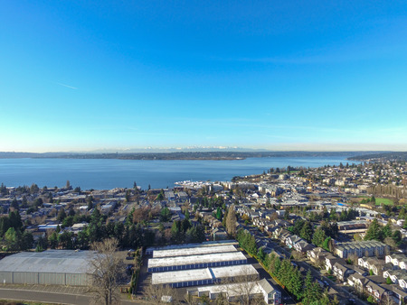 Aerial view of lake Washington. Residential area of Kirkland, WA