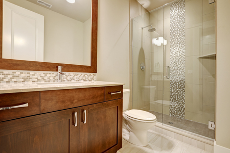 Glass walk-in shower with white subway tiled surround accented with vertical mosaic tile strip in brand-new home bathroom. Northwest, USA Standard-Bild