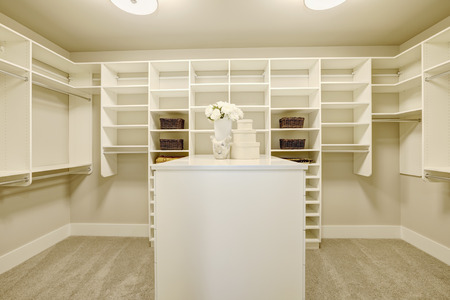 Huge White Walk In Closet With Shelves, Drawers And Shoe Racks. Northwest,
