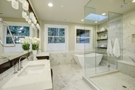 Amazing white and gray marble master bathroom with large glass walk-in shower, freestanding tub and skylights on the ceiling. Northwest, USA