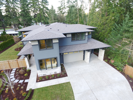 home exterior: Aerial view of new construction home in residential area of Bellevue downtown. Northwest, USA
