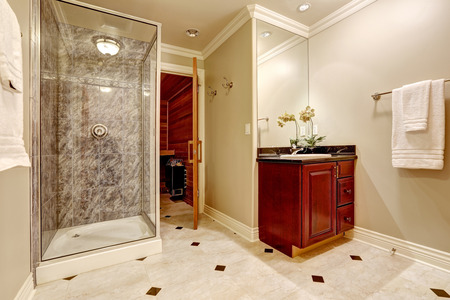 Glass Walk-in Shower With Gray Subway Tiled Surround And White ...