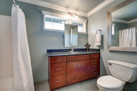 renovated: newly renovated Bathroom interior with blue grey walls and tile flooring. Northwest, USA
