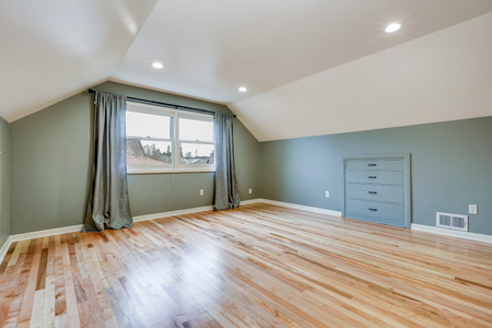 Empty room features green walls paint color , white vaulted ceiling over light hardwood floor. Northwest, USA Stock Photo