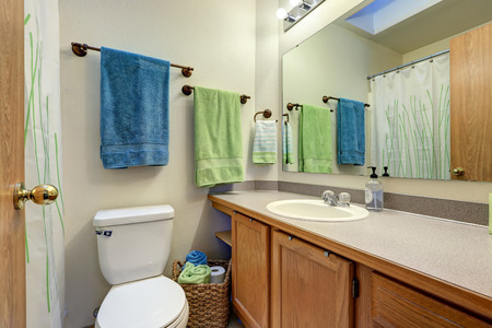 Light compact bathroom design features vanity cabinet and toilet. Northwest, USA Stock Photo