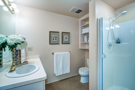 renovated: Newly remodeled bathroom design with neutral walls showcases white bathroom vanity topped with white countertop framing oval sink, glass shower and built-in shelves. Northwest, USA