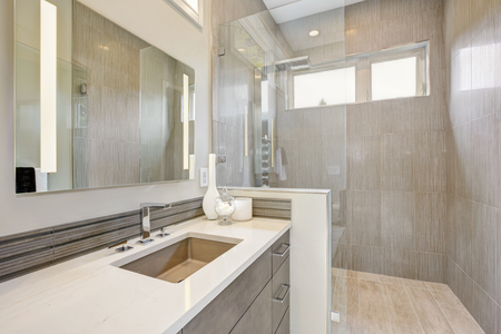Contemporary bathroom features a dark vanity cabinet fitted with rectangular sink and walk-in shower. Northwest, USA