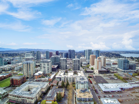 Aerial view of residential area in Bellevue downtown. Northwest, USA