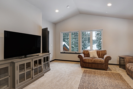 Boys bunk room interior with Living space comfortable Living space and grey cabinet with TV. Northwest, USA