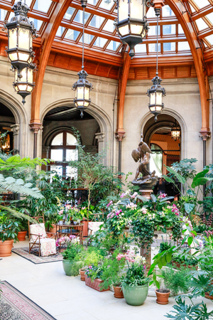 ASHEVILLE, NORTH CAROLINA - MARCH 4, 2017: Winter Garden Room  with a glass-ceiling solarium at Biltmore Estate, Asheville, North Carolina Editorial